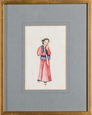 View 2. Thumbnail of Lot 163. A set of fourteen Chinese paintings on silk, Canton, 19th century.