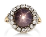 STAR SAPPHIRE AND DIAMOND RING, LATE 19TH CENTURY