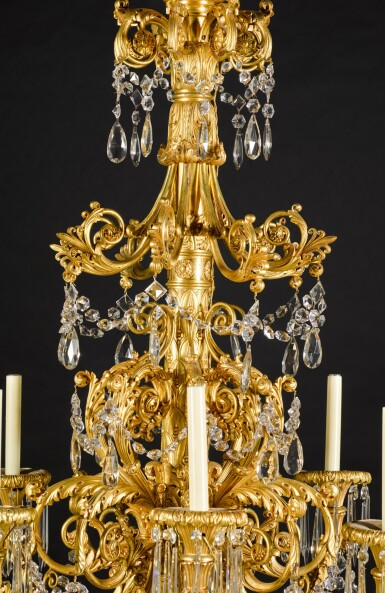 View 2. Thumbnail of Lot 56. A gilt-bronze eight-light chandelier, possibly North European, second quarter 19th century.
