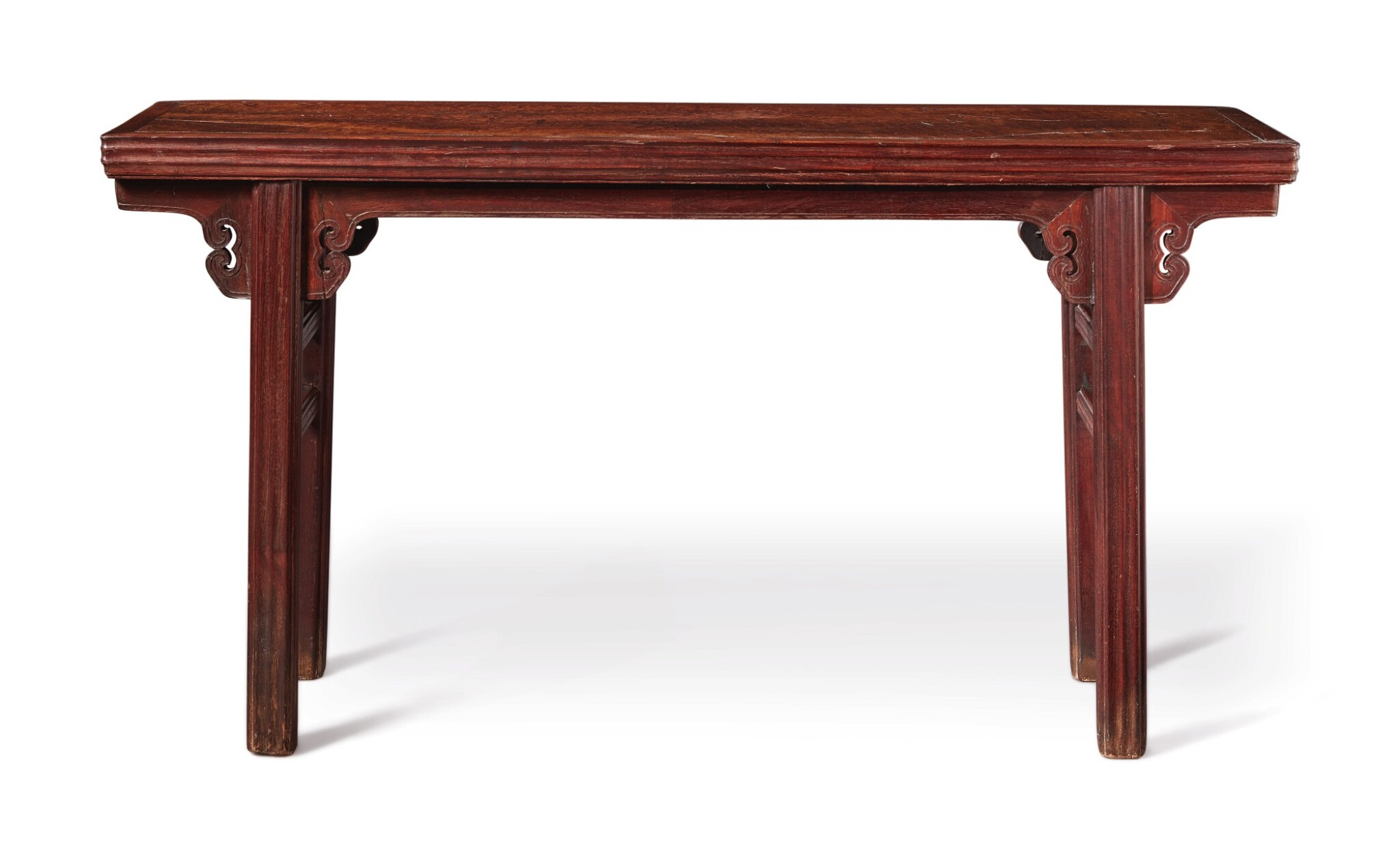 View 1 of Lot 1040.  A BURLWOOD INSET 'TIELIMU' RECESSED-LEG TABLE (PINGTOUAN), QING DYNASTY, 18TH / 19TH CENTURY.