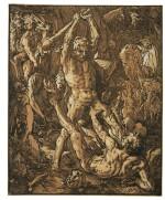 HENDRICK GOLTZIUS | HERCULES AND CACUS (BARTSCH 231; STRAUSS 403; BIALLER 25II/III)