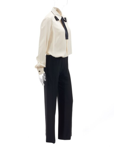 Pair of black silk trousers and two-tone silk blouse