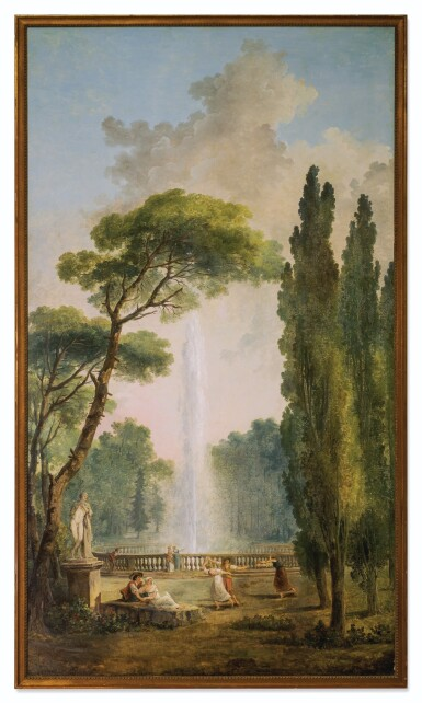 View 2. Thumbnail of Lot 39. View of a garden with a large fountain at center and figures relaxing and dancing in the foreground.