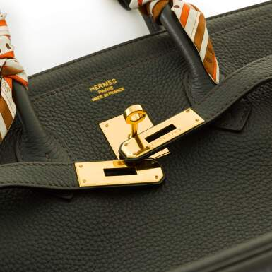 View 5. Thumbnail of Lot 34. Vert Cypress Birkin 35cm in Togo Leather with Gold Hardware, 2012.