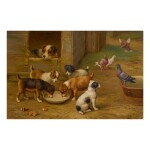 EDGAR HUNT | PIGEONS AND PUPPIES IN A FARMYARD