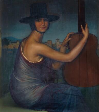 View 1. Thumbnail of Lot 25. JULIO ROMERO DE TORRES   La 'Cantaora', Retrato de Sara Secades (The 'Singer', Sara Secades).