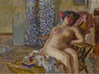 View 1. Thumbnail of Lot 41. Nu assis, Fleurs dans les cheveux (Étude de nu).