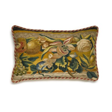 View 6. Thumbnail of Lot 24. A group of three European textiles panels, now cushions, late 17th and 18th century.