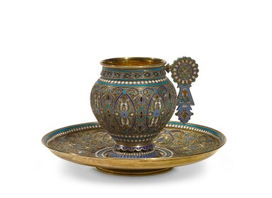 A silver-gilt and cloisonné enamel cup and saucer, Ivan Saltykov, Moscow, 1887
