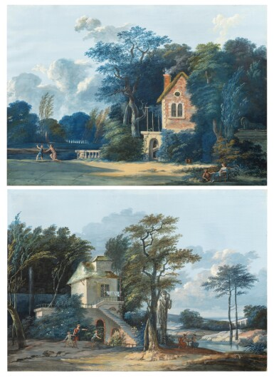 View 1. Thumbnail of Lot 196. Pastoral landscape with thermal baths;  Pastoral landscape with a child shooting an arrow.