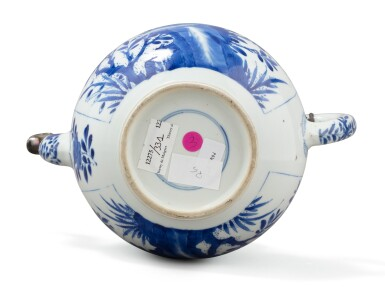 View 3. Thumbnail of Lot 283. A blue and white teapot and jar, China, Qing Dynasty, 18th-19th century.