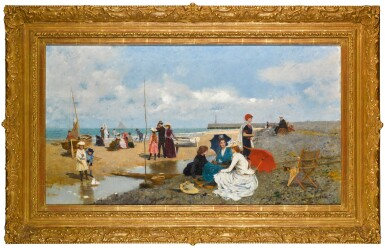 View 2. Thumbnail of Lot 34. Tarde en la Playa (An Afternoon on the Beach).