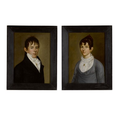 ATTRIBUTED TO WILLIAM JENNYS | PAIR OF PORTRAITS: A YOUNG LADY AND A GENTLEMAN FROM NEWBURYPORT, MASSACHUSETTS