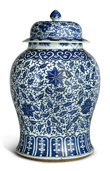 View 4. Thumbnail of Lot 1133. A BLUE AND WHITE 'FLORAL' BALUSTER JAR AND COVER, 19TH CENTURY.