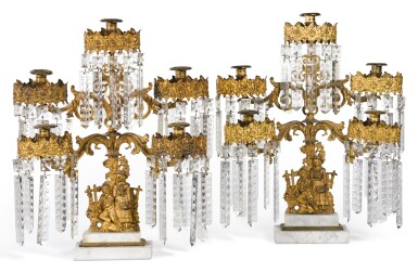 A PAIR OF VICTORIAN GILT-METAL AND MARBLE CANDELABRA, THIRD QUARTER 19TH CENTURY, PROBABLY AMERICAN