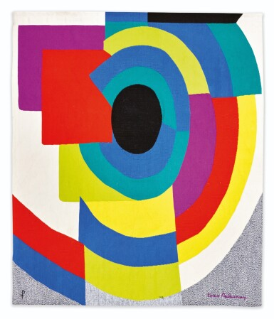 View 1. Thumbnail of Lot 114. AFTER SONIA DELAUNAY | SYNCOPÉ TAPESTRY  [TAPISSERIE SYNCOPÉ].