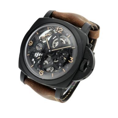 View 2. Thumbnail of Lot 311. Reference PAM00528 Luminor 1950 Tourbillon GMT  A limited edition black ceramic and titanium skeletonized tourbillon dual time wristwatch, Circa 2014.