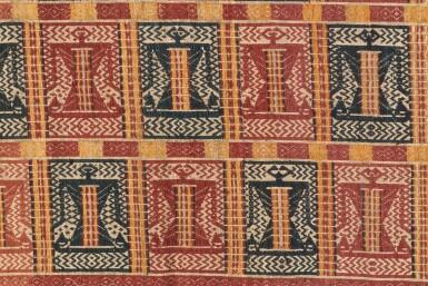 "View 3. Thumbnail of Lot 41. Tissu cérémoniel ""à jonques"" palepai, Lampung, Sumatra, Indonesia, ca.1900 | Ceremonial hanging ""ship cloth"" palepai, Lampung, Sumatra, Indonesia, about 1900."