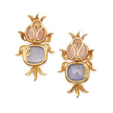 View 2. Thumbnail of Lot 313. Tony Duquette | Pair of Rose Quartz and Chalcedony Earclips.