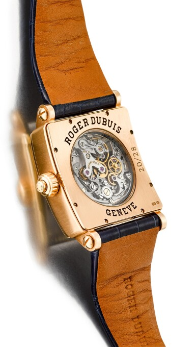 View 3. Thumbnail of Lot 612.  ROGER DUBUIS | GOLDEN SQUARE, REFERENCE G34 28 5 NG 1D.52,  A LIMITED EDITION PINK GOLD AND DIAMOND-SET SINGLE BUTTON CHRONOGRAPH WRISTWATCH WITH MOTHER-OF-PEARL DIAL, CIRCA 2006.