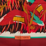 "Hermès Set of Two Scarves 90cm of Silk Twill: ""Cadre Noir"" and ""Col Verts"""