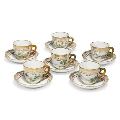 View 2. Thumbnail of Lot 6. Six Royal Copenhagen 'Flora Danica' Demi-Tasse Cups and Saucers, Modern.