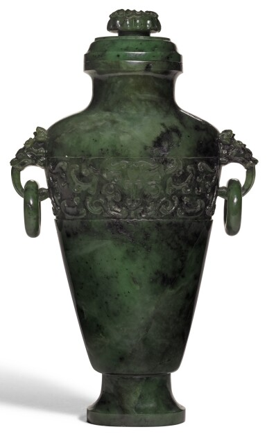 A LARGE SPINACH-GREEN JADE ARCHAISTIC VASE AND COVER   LATE QING DYNASTY | 晚清 碧玉仿古饕餮紋活環蓋瓶