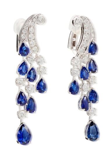 View 3. Thumbnail of Lot 1065. Pair of Sapphire and Diamond Earrings | 格拉夫| 藍寶石 配 鑽石 耳墜一對 (藍寶石及鑽石共重約14.00及3.80克拉).