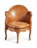 A LOUIS XV CARVED WALNUT FAUTEUIL DE BUREAU BY ETIENNE MEUNIER, MID-18TH CENTURY