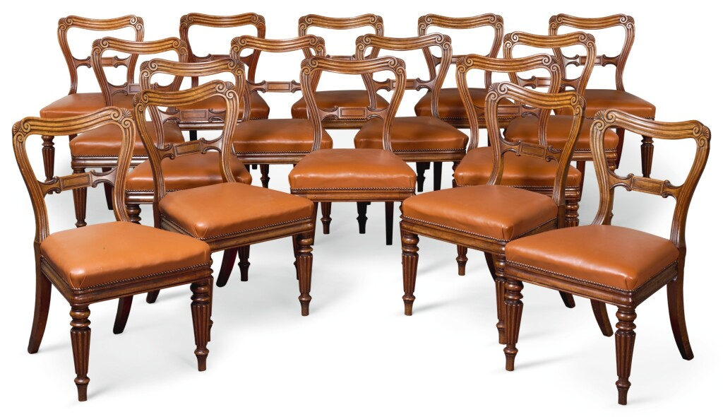 A SET OF SIXTEEN GEORGE IV MAHOGANY DINING CHAIRS, CIRCA 1820, ALMOST CERTAINLY BY GILLOWS