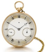 BREGUET ET FILS   [寶璣]  | A FINE AND UNUSUAL GOLD RUBY CYLINDER WATCH WITH DATE AND SHORT CHAIN  NO. 2348, 'MONTRE SIMPLE' SOLD TO SON ALTESSE ROYALE LE DUC DE CAMBRIDGE ON 10 APRIL 1818 FOR 1172 FRANCS   [罕有黃金懷錶備紅寶石工字輪擒縱機芯、日期及短錶鍊,編號2348,1818年4月10日以1,172法郎售予劍橋公爵殿下]
