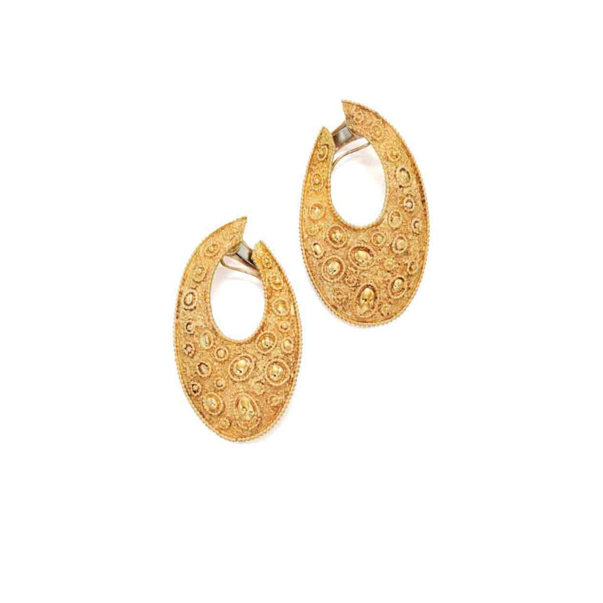 View full screen - View 1 of Lot 237. Pair of Gold Earclips, France.
