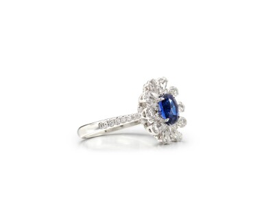 View 2. Thumbnail of Lot 62. SAPPHIRE AND DIAMOND RING.