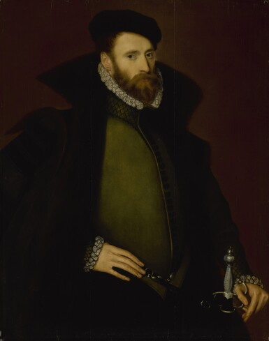 STEVEN VAN DER MEULEN | PORTRAIT OF GEORGE DACRES OF CHESHUNT (1533-1580), THREE-QUARTER LENGTH, IN A DARK GREEN DOUBLET, FUR CLOAK, HAT, AND SWORD