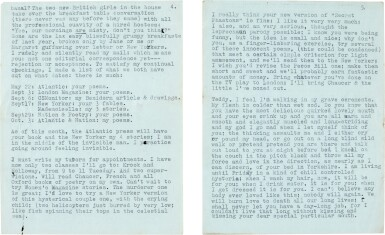 """View 3. Thumbnail of Lot 13. Sylvia Plath   Typed letter signed, to Ted Hughes, """"we will burn love to death all our long lives"""", 10 October 1956."""
