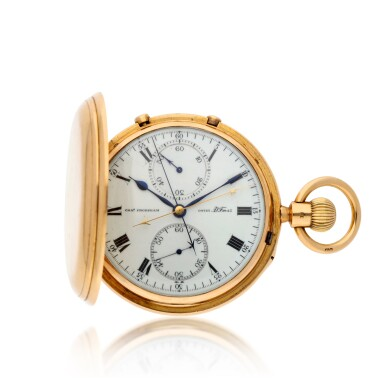 View 1. Thumbnail of Lot 214. A gold hunting cased keyless lever 7½-minute flying tourbillon watch with split seconds chronograph and 60-minute register Movement circa 1917, no. 09765 case hallmarked 1904, no. 09765.