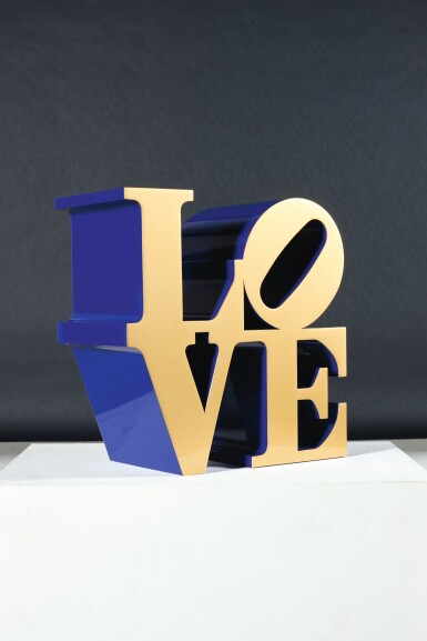 View 4. Thumbnail of Lot 33. ROBERT INDIANA  |  LOVE (GOLD FACES - BLUE SIDES).