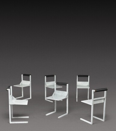 View 5. Thumbnail of Lot 186. Dining set comprising one table and six chairs.