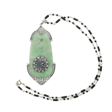 View 3. Thumbnail of Lot 239. RETAILED BY GHISO: A JADE, PLATINUM, DIAMOND, AND ENAMEL PENDANT WATCH, CIRCA 1925.