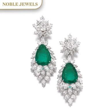 View 1. Thumbnail of Lot 172.  Harry Winston | Pair of emerald and diamond pendent ear clips, 1970s | 海瑞溫斯頓 | 祖母綠配鑽石耳墜一對,1970年代.