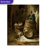 Barn interior with a woman churning butter