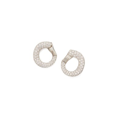View 1. Thumbnail of Lot 109. PAIR OF DIAMOND EARCLIPS, CARTIER.