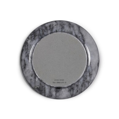View 3. Thumbnail of Lot 718. REFERENCE RMA 210-G GREY MARBLE ROUND ASHTRAY WITH APPLIED ROLEX CORONET EMBLEMS, BAIZE UNDERSIDE CIRCA 1970.