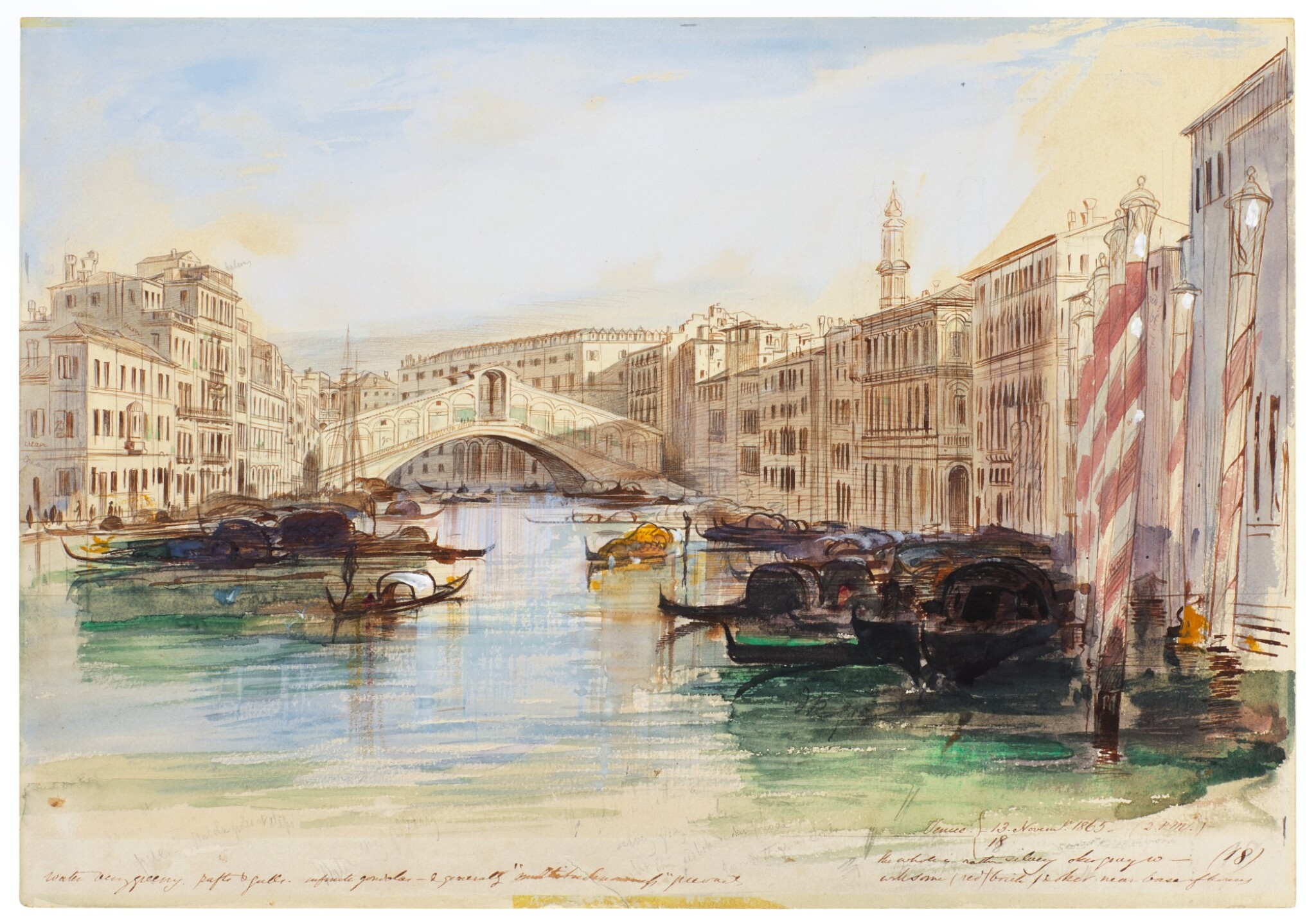 View 1 of Lot 87. The Grand Canal looking towards the Rialto Bridge, Venice.
