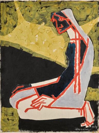 View 1. Thumbnail of Lot 124. MAQBOOL FIDA HUSAIN | Untitled (Praying Woman).