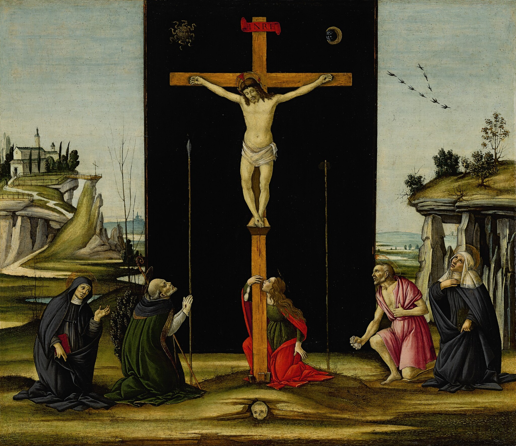 View full screen - View 1 of Lot 5.  Christ on the Cross adored by Saints Monica, Augustine, Mary Magdalen, Jerome and Bridget of Sweden | 《聖莫尼卡、聖奧古斯丁、聖瑪利亞・瑪達肋納、聖傑羅姆及瑞典聖畢哲敬拜十字架上的耶穌》.