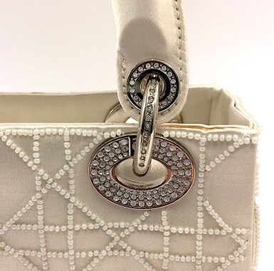 View 7. Thumbnail of Lot 750. DIOR | CREAM LADY DIOR MINI BAG IN SATIN WITH MINI PEARL BEADING CANNAGE AND CRYSTAL TRIM.