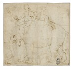 Two Putti on the Back of an Elephant, Study for a Stucco Medallion in the West Lunette on the Vault of the Camera delle Aquile, Palazzo Te