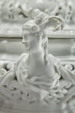 A MEISSEN WHITE PIERCED OVAL 'SEWING' BOX AND COVER CIRCA 1740