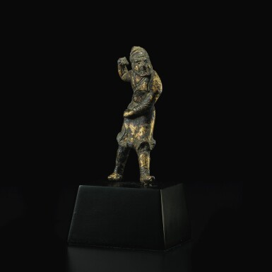 View 3. Thumbnail of Lot 581. A SMALL GILT-BRONZE FIGURE OF A SOGDIAN GROOM,  TANG DYNASTY.